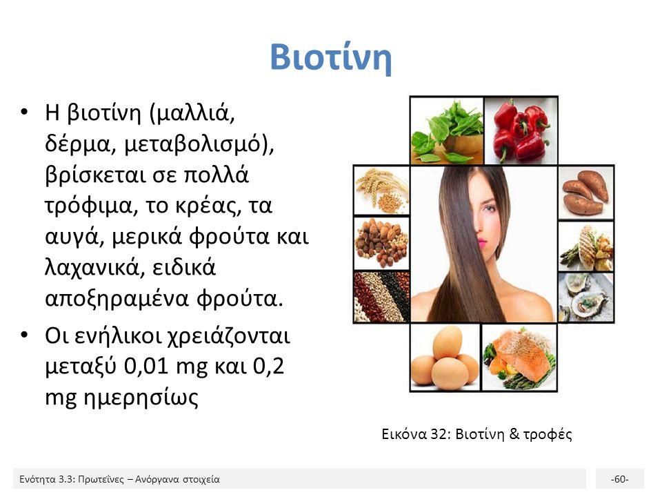 Βιοτίνη Η βιοτίνη (μαλλιά, δέρμα, μεταβολισμό), βρίσκεται σε πολλά τρόφιμα, το κρέας, τα αυγά, μερικά φρούτα και λαχανικά, ειδικά αποξηραμένα φρούτα.