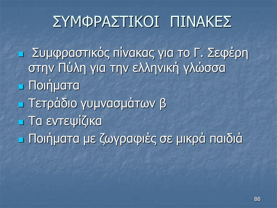 ΣΥΜΦΡΑΣΤΙΚΟΙ ΠΙΝΑΚΕΣ Συμφραστικός πίνακας για το Γ. Σεφέρη στην Πύλη για την ελληνική γλώσσα. Ποιήματα.