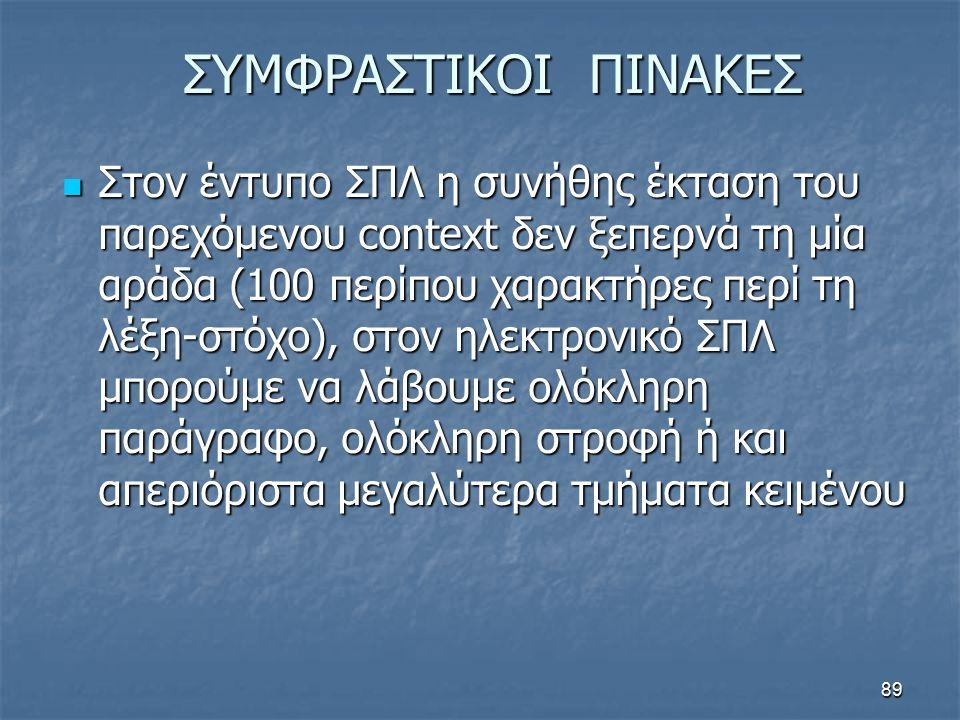 ΣΥΜΦΡΑΣΤΙΚΟΙ ΠΙΝΑΚΕΣ