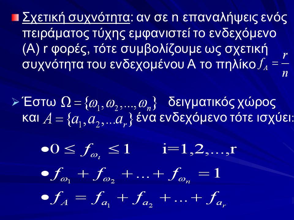 Σχετική συχνότητα: αν σε n επαναλήψεις ενός πειράματος τύχης εμφανιστεί το ενδεχόμενο (Α) r φορές, τότε συμβολίζουμε ως σχετική συχνότητα του ενδεχομένου Α το πηλίκο