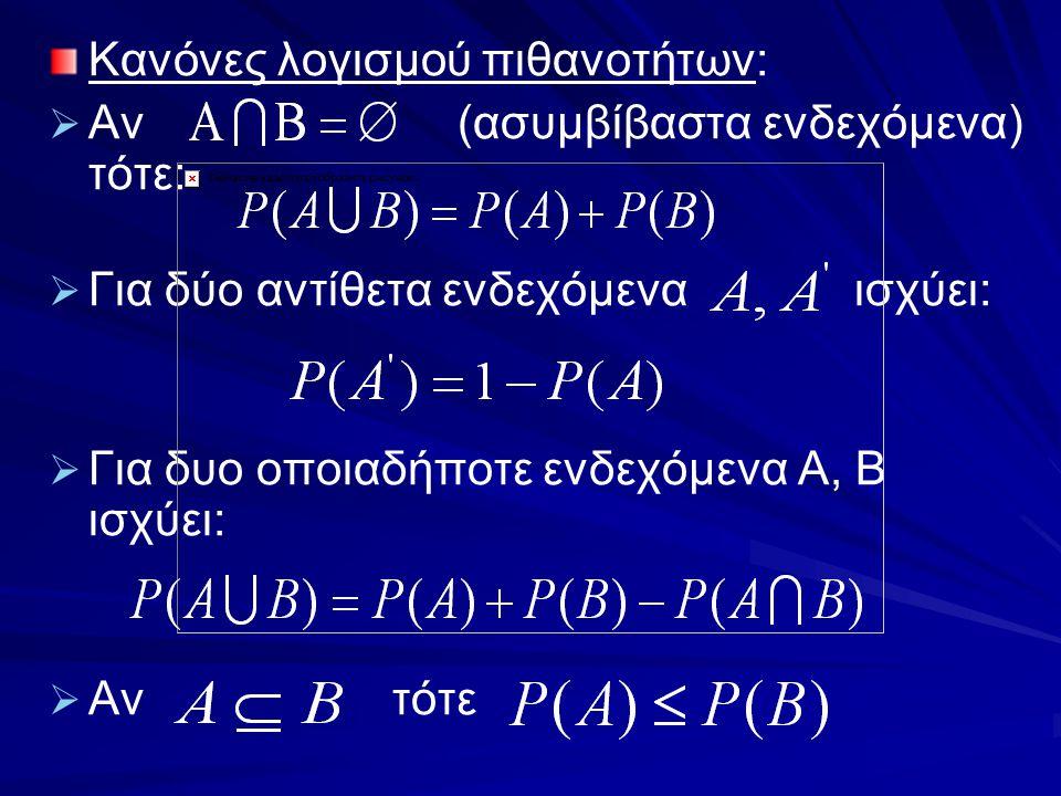 Κανόνες λογισμού πιθανοτήτων: