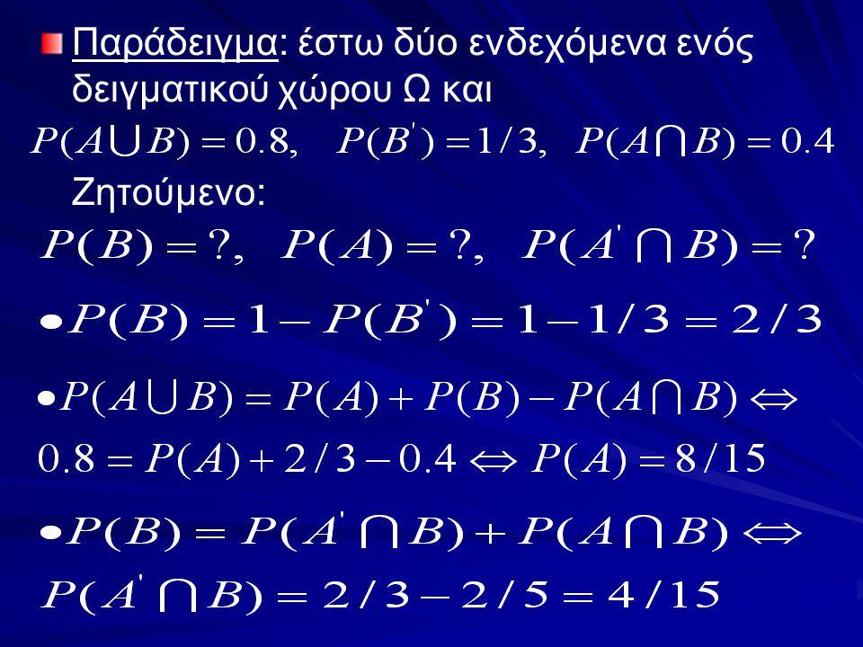 Παράδειγμα: έστω δύο ενδεχόμενα ενός δειγματικού χώρου Ω και