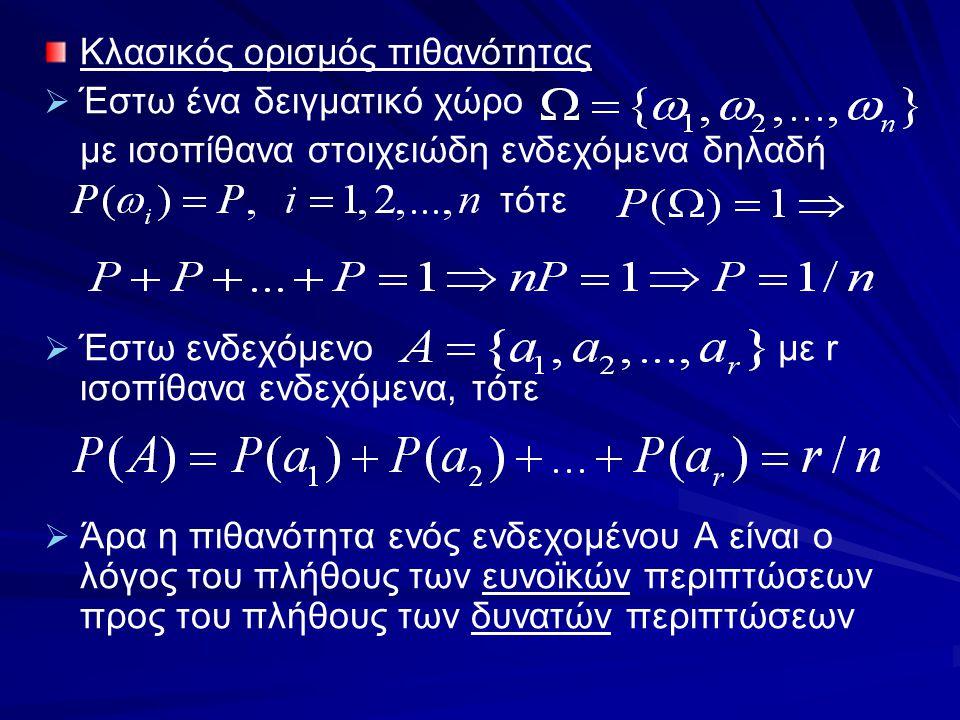 Κλασικός ορισμός πιθανότητας