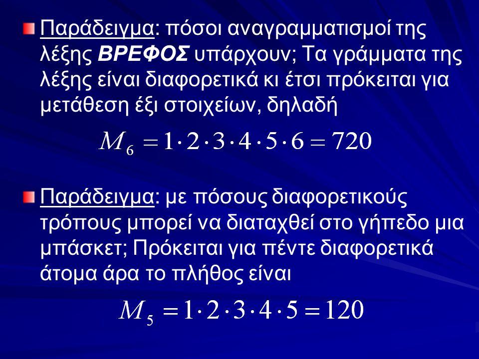 Παράδειγμα: πόσοι αναγραμματισμοί της λέξης ΒΡΕΦΟΣ υπάρχουν; Τα γράμματα της λέξης είναι διαφορετικά κι έτσι πρόκειται για μετάθεση έξι στοιχείων, δηλαδή