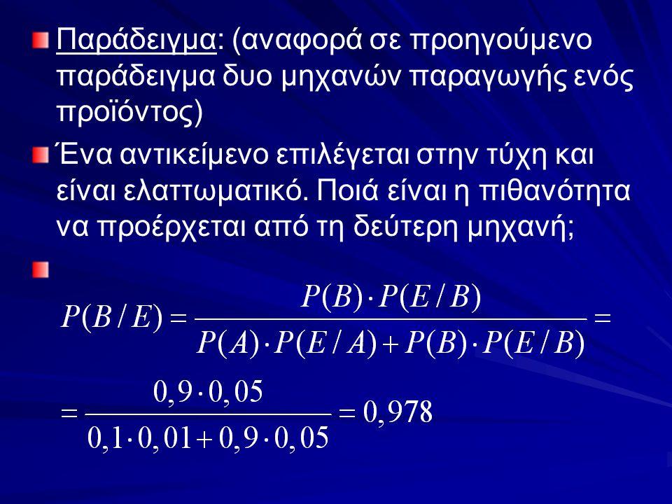 Παράδειγμα: (αναφορά σε προηγούμενο παράδειγμα δυο μηχανών παραγωγής ενός προϊόντος)