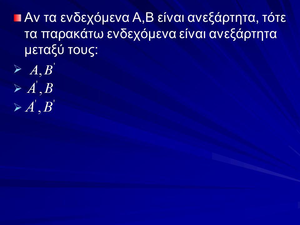 Αν τα ενδεχόμενα Α,Β είναι ανεξάρτητα, τότε τα παρακάτω ενδεχόμενα είναι ανεξάρτητα μεταξύ τους: