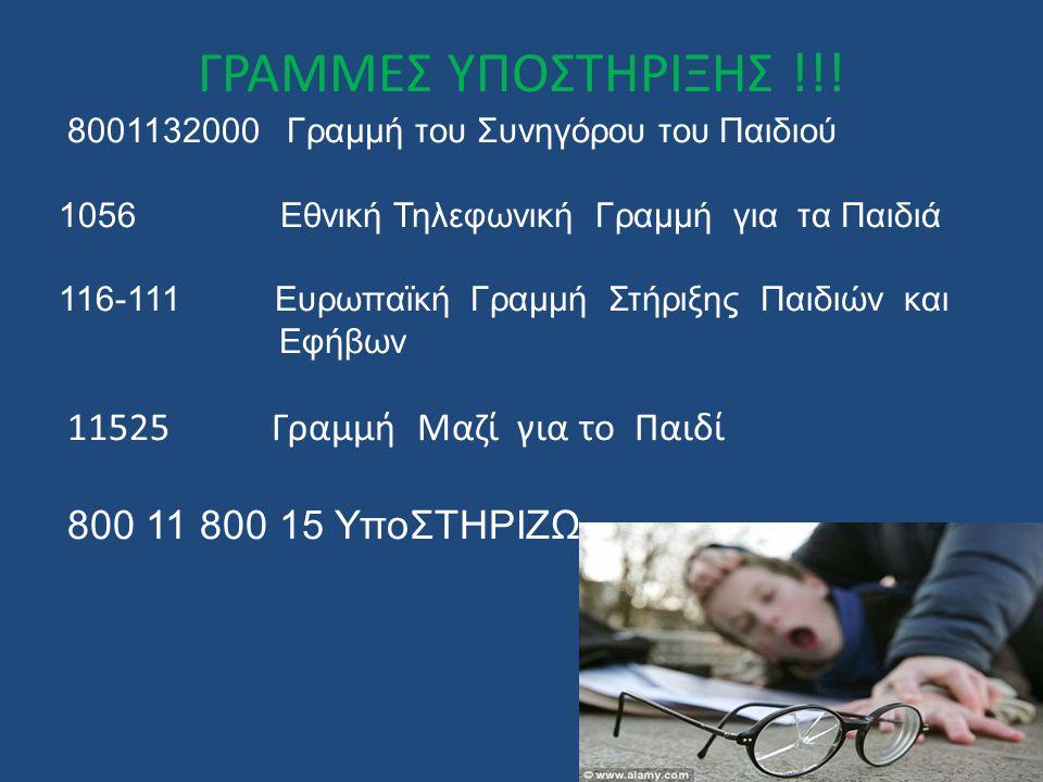 ΓΡΑΜΜΕΣ ΥΠΟΣΤΗΡΙΞΗΣ !!! 8001132000 Γραμμή του Συνηγόρου του Παιδιού