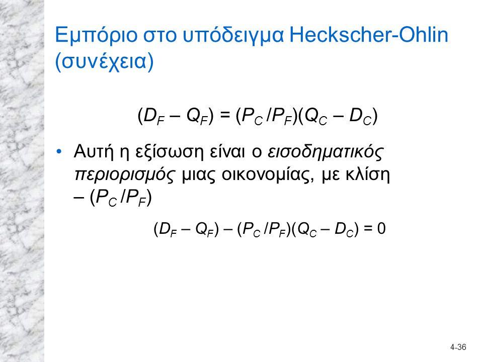 Εμπόριο στο υπόδειγμα Heckscher-Ohlin (συνέχεια)
