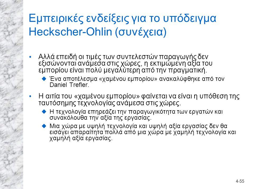 Εμπειρικές ενδείξεις για το υπόδειγμα Heckscher-Ohlin (συνέχεια)