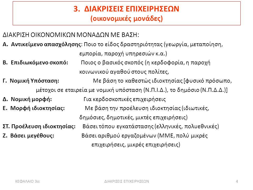 3. ΔΙΑΚΡΙΣΕΙΣ ΕΠΙΧΕΙΡΗΣΕΩΝ (οικονομικές μονάδες)