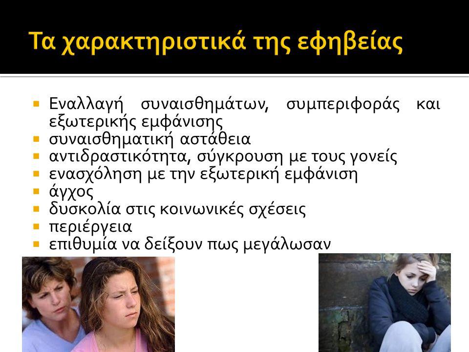 Τα χαρακτηριστικά της εφηβείας