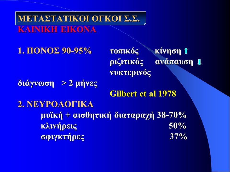 ΜΕΤΑΣΤΑΤΙΚΟΙ ΟΓΚΟΙ Σ. Σ. ΚΛΙΝΙΚΗ ΕΙΚΟΝΑ 1. ΠΟΝΟΣ 90-95% τοπικός κίνηση