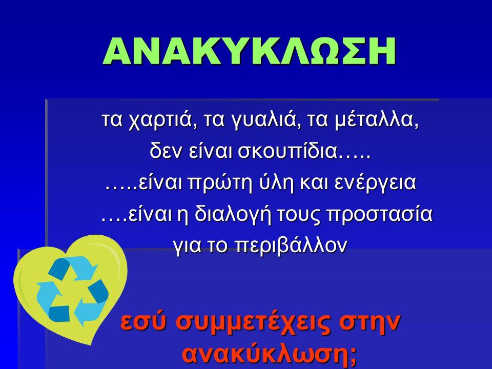 εσύ συμμετέχεις στην ανακύκλωση;