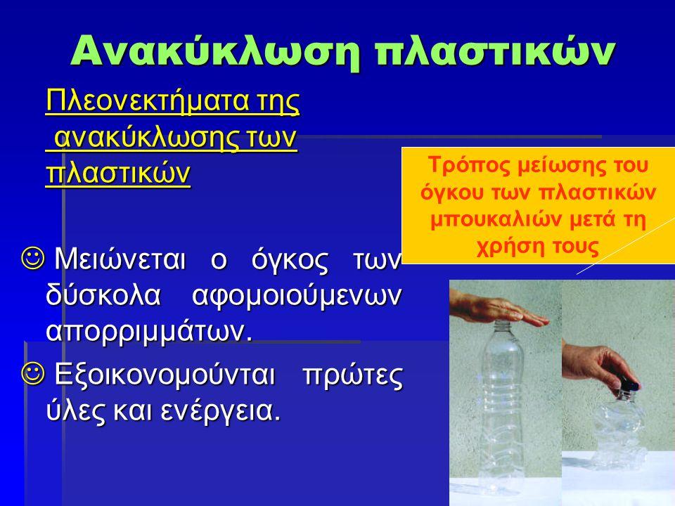 Τρόπος μείωσης του όγκου των πλαστικών μπουκαλιών μετά τη χρήση τους