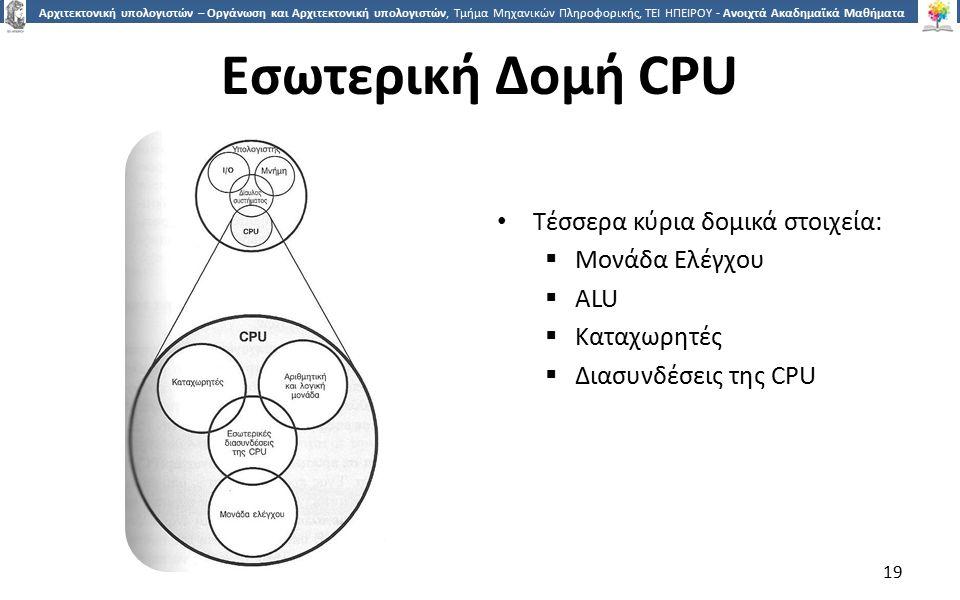 Εσωτερική Δομή CPU Τέσσερα κύρια δομικά στοιχεία: Μονάδα Ελέγχου ALU