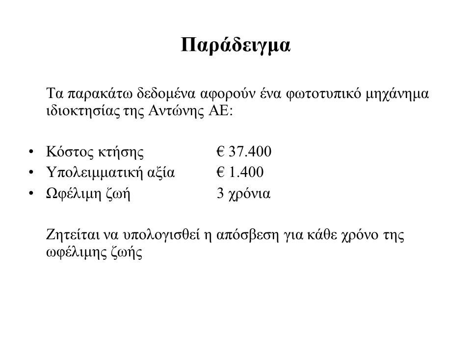 Παράδειγμα Τα παρακάτω δεδομένα αφορούν ένα φωτοτυπικό μηχάνημα ιδιοκτησίας της Αντώνης ΑΕ: Κόστος κτήσης € 37.400.