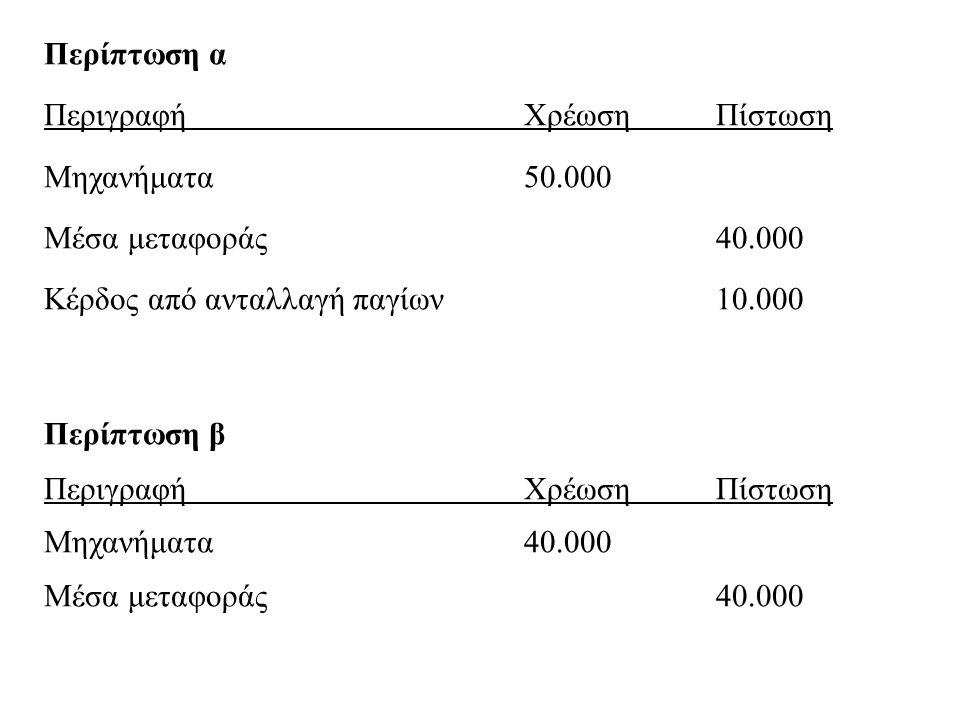 Περίπτωση α Περιγραφή Χρέωση Πίστωση. Μηχανήματα 50.000. Μέσα μεταφοράς 40.000. Κέρδος από ανταλλαγή παγίων 10.000.