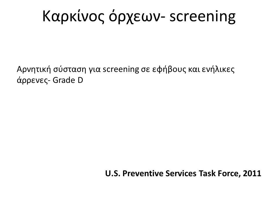 Καρκίνος όρχεων- screening