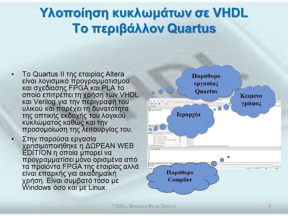 Υλοποίηση κυκλωμάτων σε VHDL Το περιβάλλον Quartus