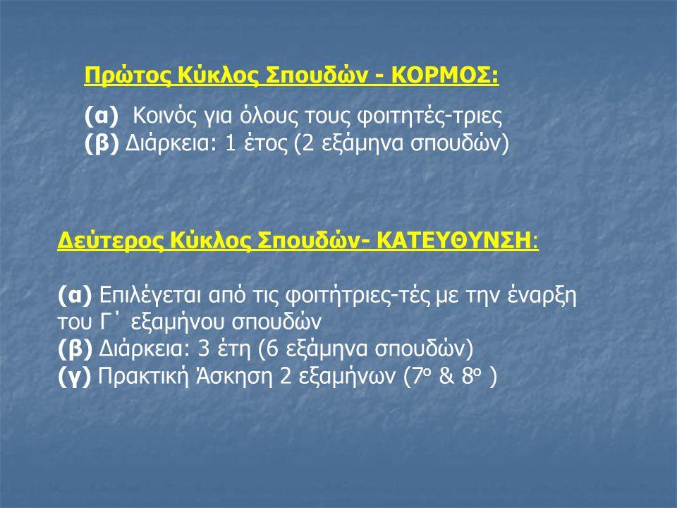 Πρώτος Κύκλος Σπουδών - ΚΟΡΜΟΣ: