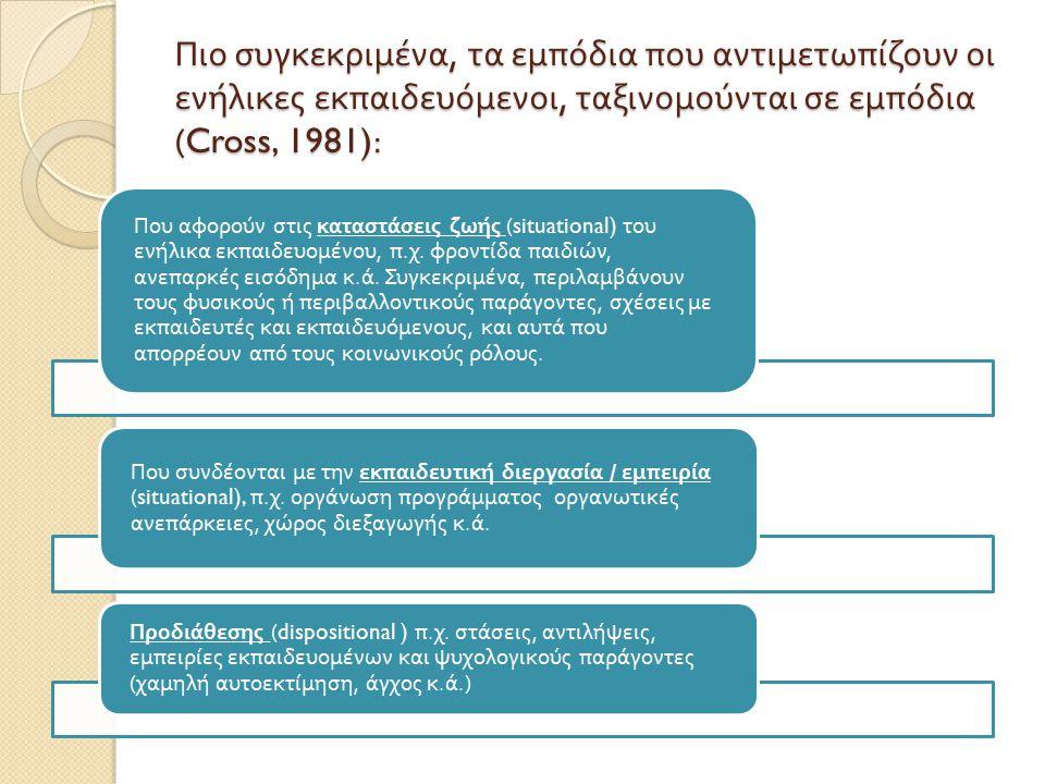 Πιο συγκεκριμένα, τα εμπόδια που αντιμετωπίζουν οι ενήλικες εκπαιδευόμενοι, ταξινομούνται σε εμπόδια (Cross, 1981):