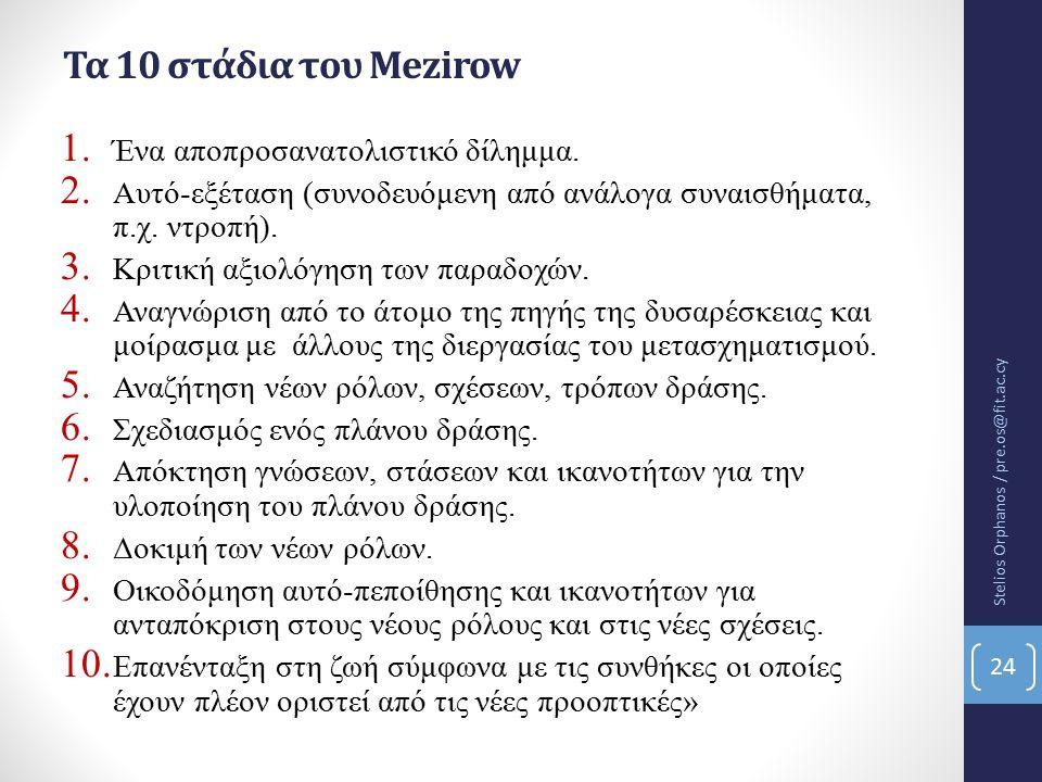 Τα 10 στάδια του Mezirow Ένα αποπροσανατολιστικό δίλημμα.