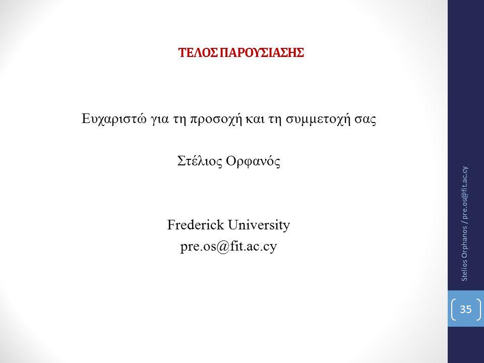 ΤΕΛΟΣ ΠΑΡΟΥΣΙΑΣΗΣ Ευχαριστώ για τη προσοχή και τη συμμετοχή σας Στέλιος Ορφανός Frederick University pre.os@fit.ac.cy