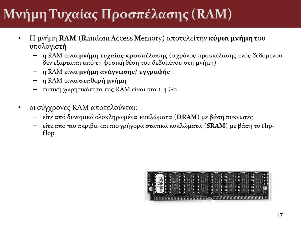 Μνήμη Τυχαίας Προσπέλασης (RAM)
