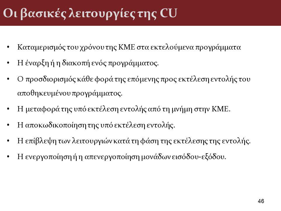Οι βασικές λειτουργίες της CU