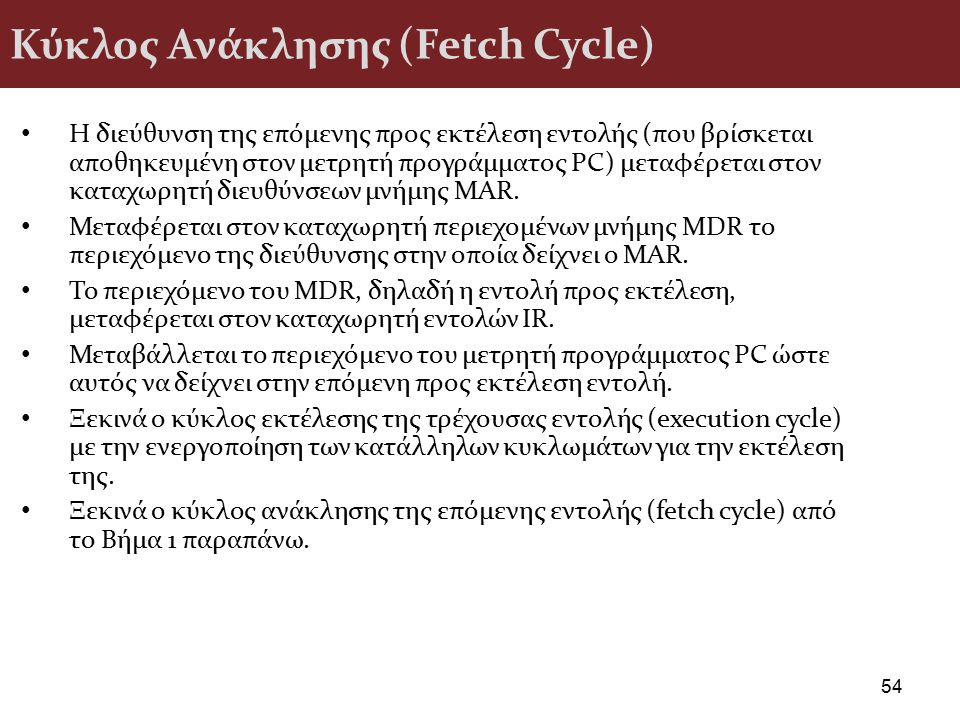 Κύκλος Ανάκλησης (Fetch Cycle)