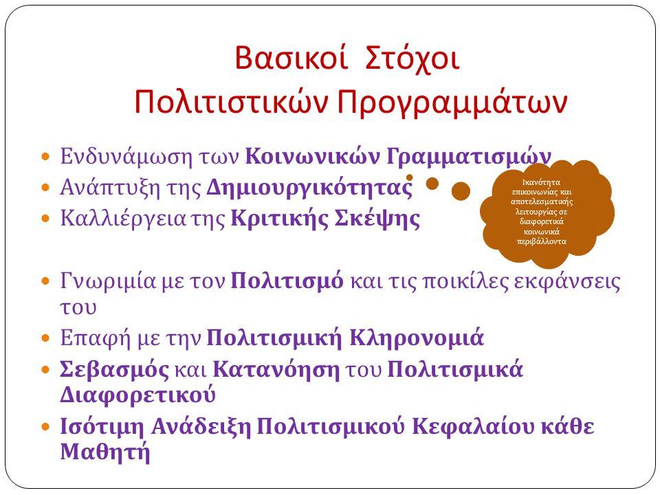 Βασικοί Στόχοι Πολιτιστικών Προγραμμάτων