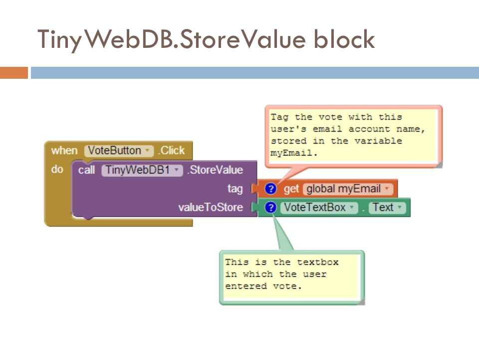 TinyWebDB.StoreValue block