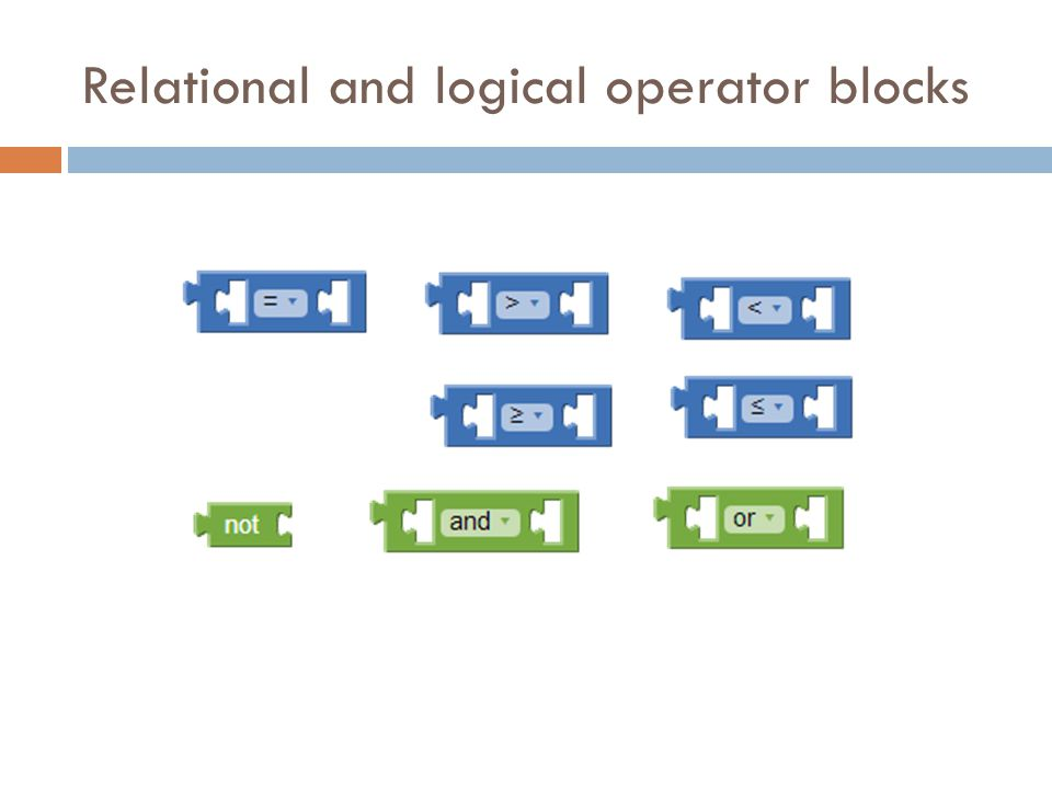 Relational and logical operator blocks