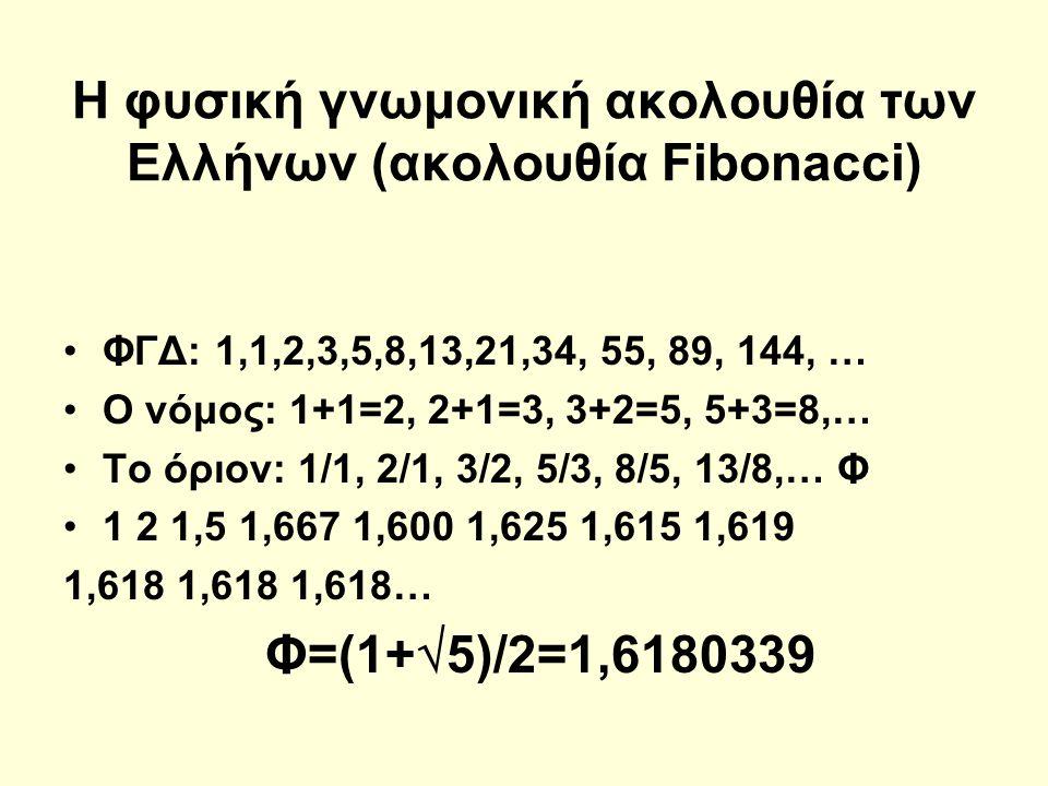 Η φυσική γνωμονική ακολουθία των Ελλήνων (ακολουθία Fibonacci)