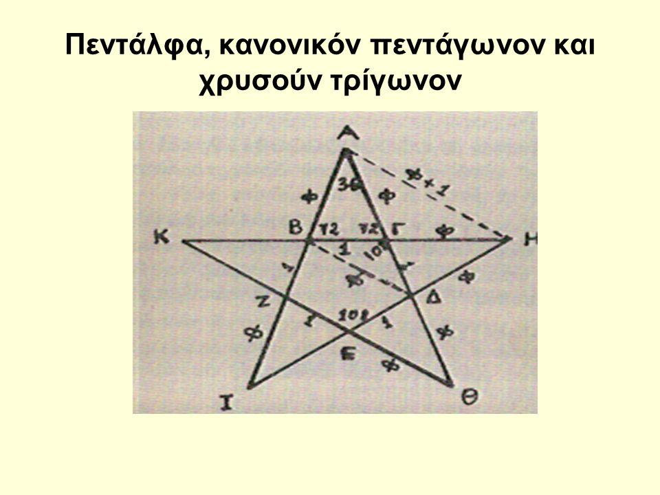 Πεντάλφα, κανονικόν πεντάγωνον και χρυσούν τρίγωνον