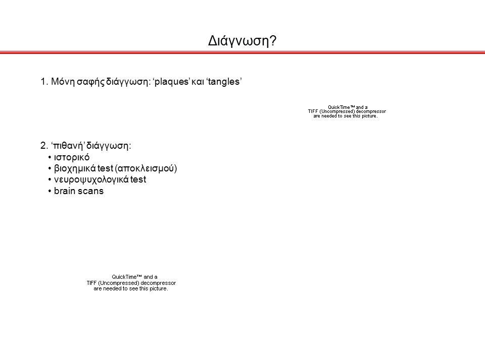 Διάγνωση 1. Μόνη σαφής διάγγωση: 'plaques' και 'tangles'