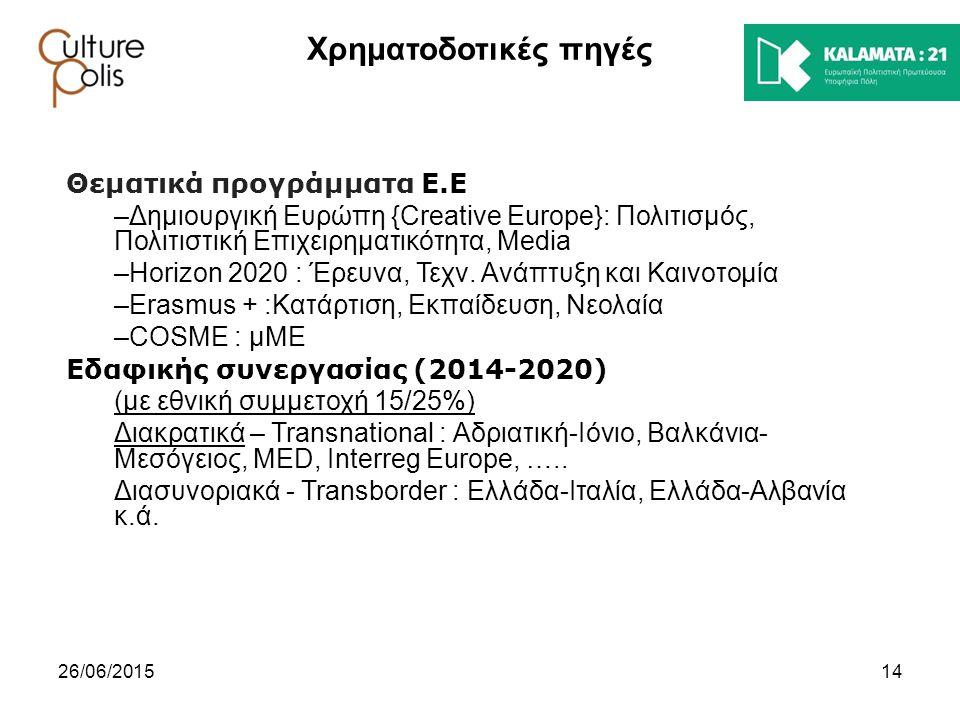 Χρηματοδοτικές πηγές Θεματικά προγράμματα Ε.Ε