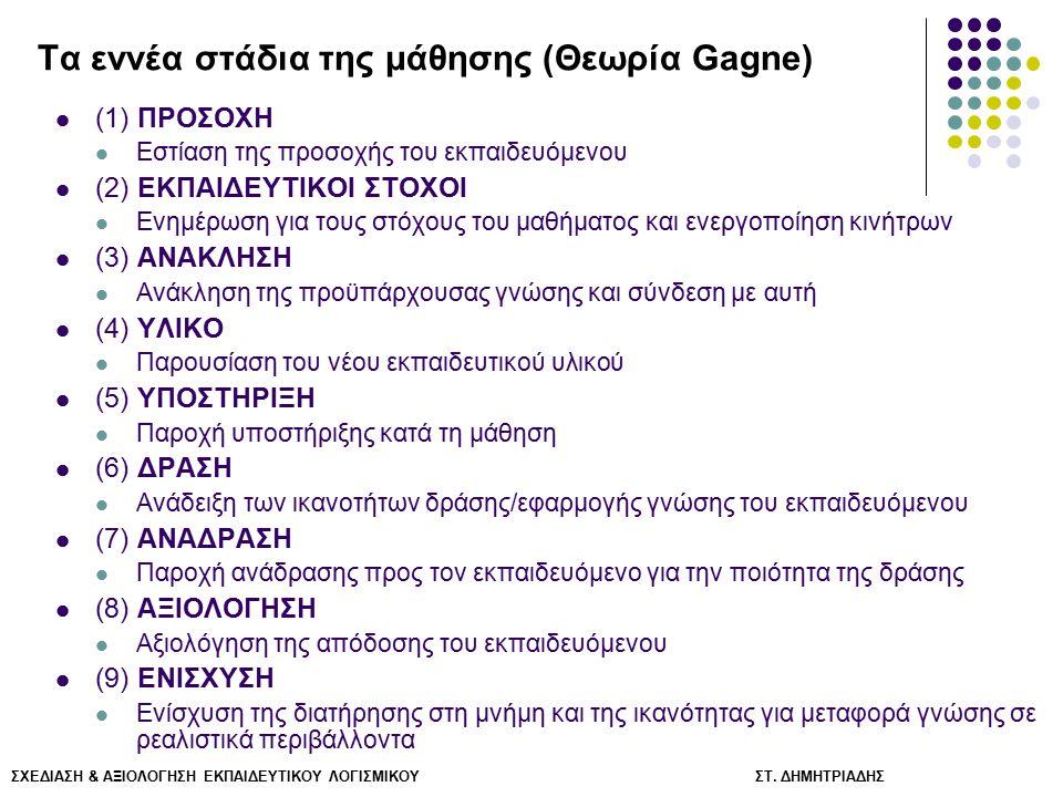 Τα εννέα στάδια της μάθησης (Θεωρία Gagne)