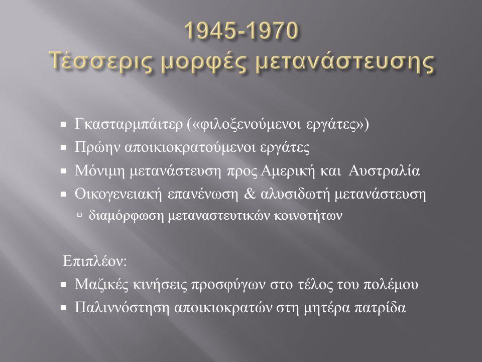 1945-1970 Τέσσερις μορφές μετανάστευσης