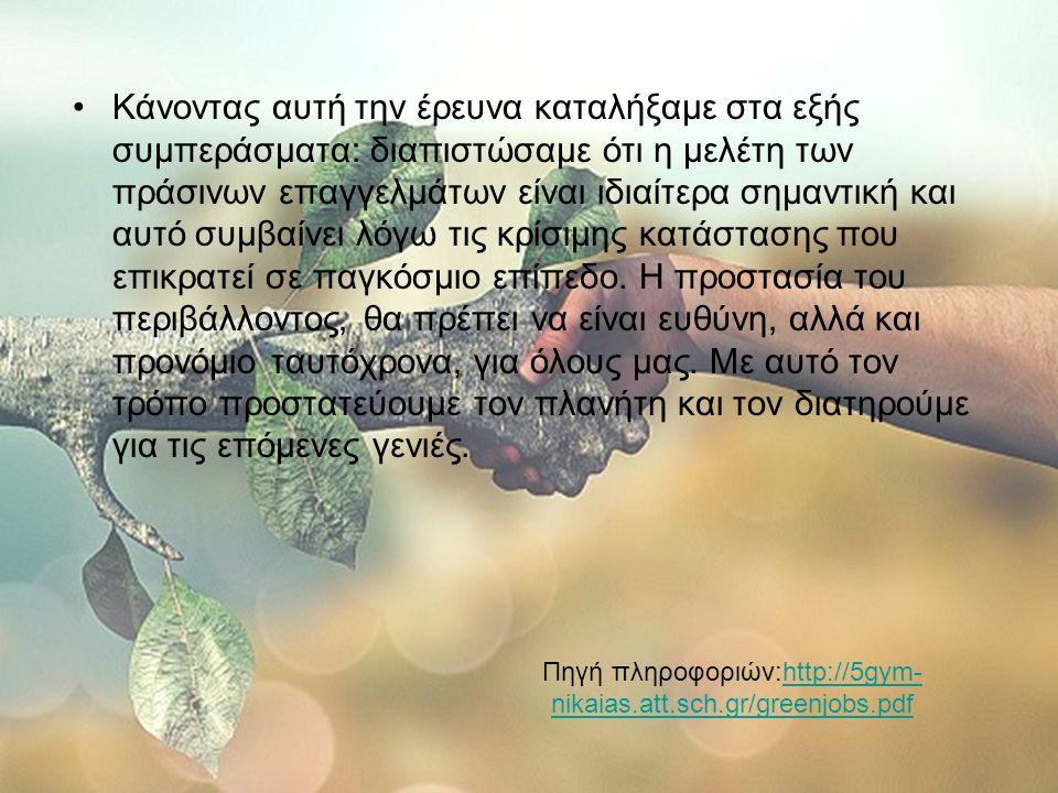 Πηγή πληροφοριών:http://5gym-nikaias.att.sch.gr/greenjobs.pdf