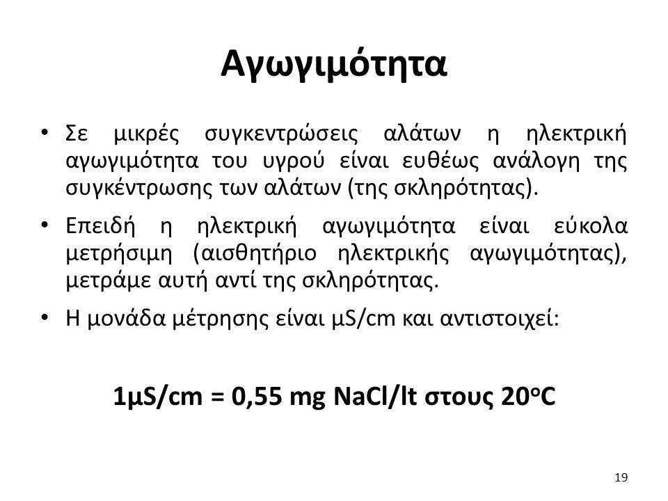 1μS/cm = 0,55 mg NaCl/lt στους 20οC