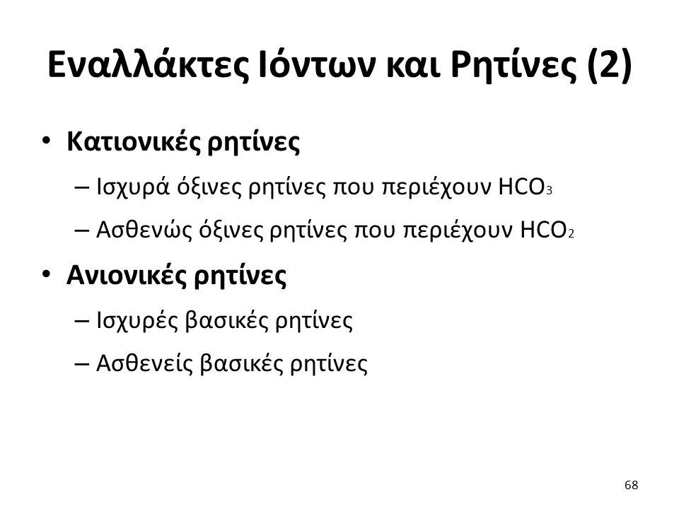 Εναλλάκτες Ιόντων και Ρητίνες (2)
