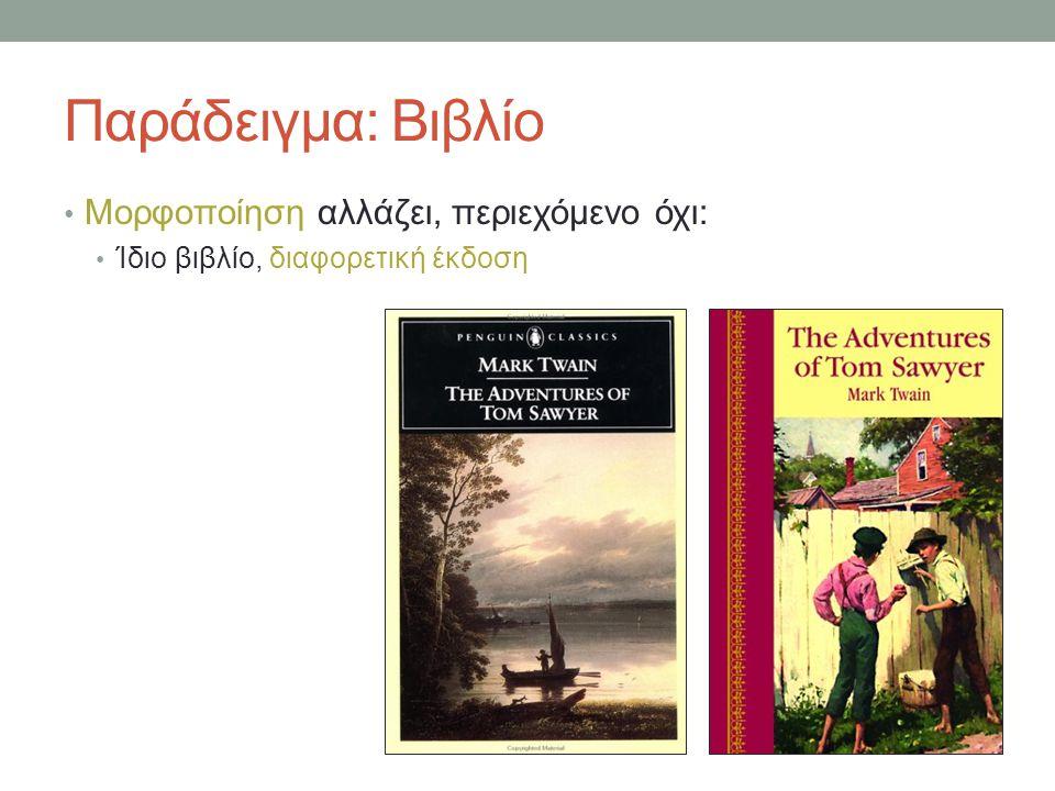 Παράδειγμα: Βιβλίο Μορφοποίηση αλλάζει, περιεχόμενο όχι: