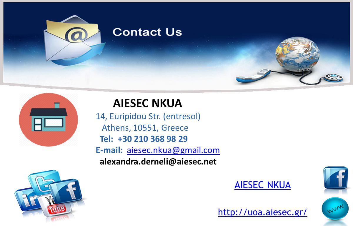 AIESEC NKUA AIESEC NKUA 14, Euripidou Str. (entresol)