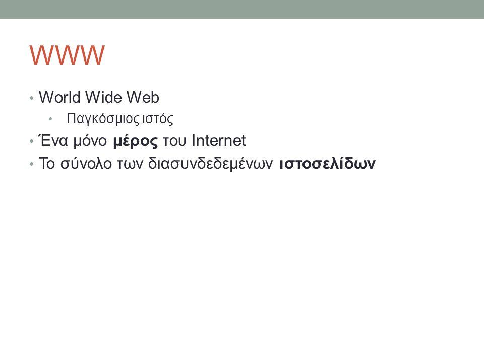 WWW World Wide Web Ένα μόνο μέρος του Internet
