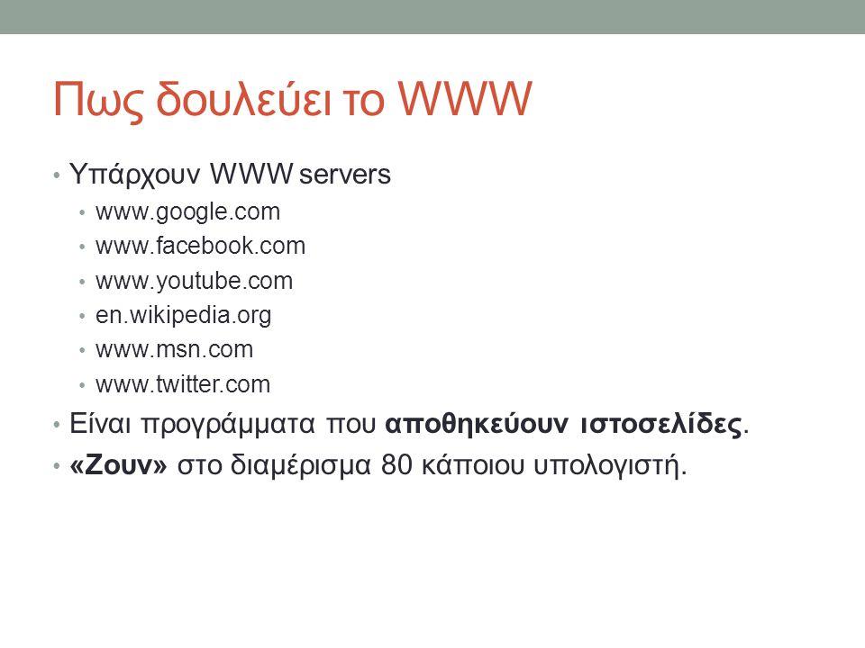 Πως δουλεύει το WWW Υπάρχουν WWW servers