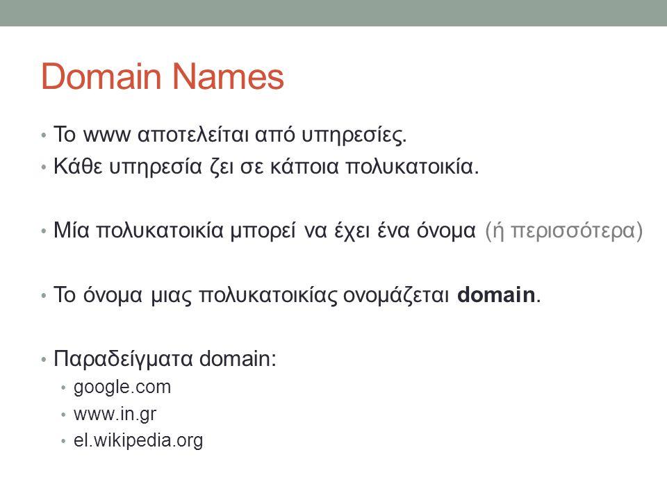 Domain Names Το www αποτελείται από υπηρεσίες.