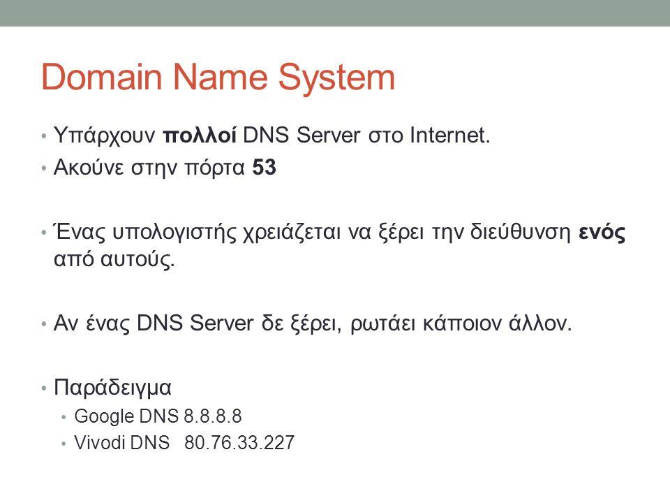 Domain Name System Υπάρχουν πολλοί DNS Server στο Internet.