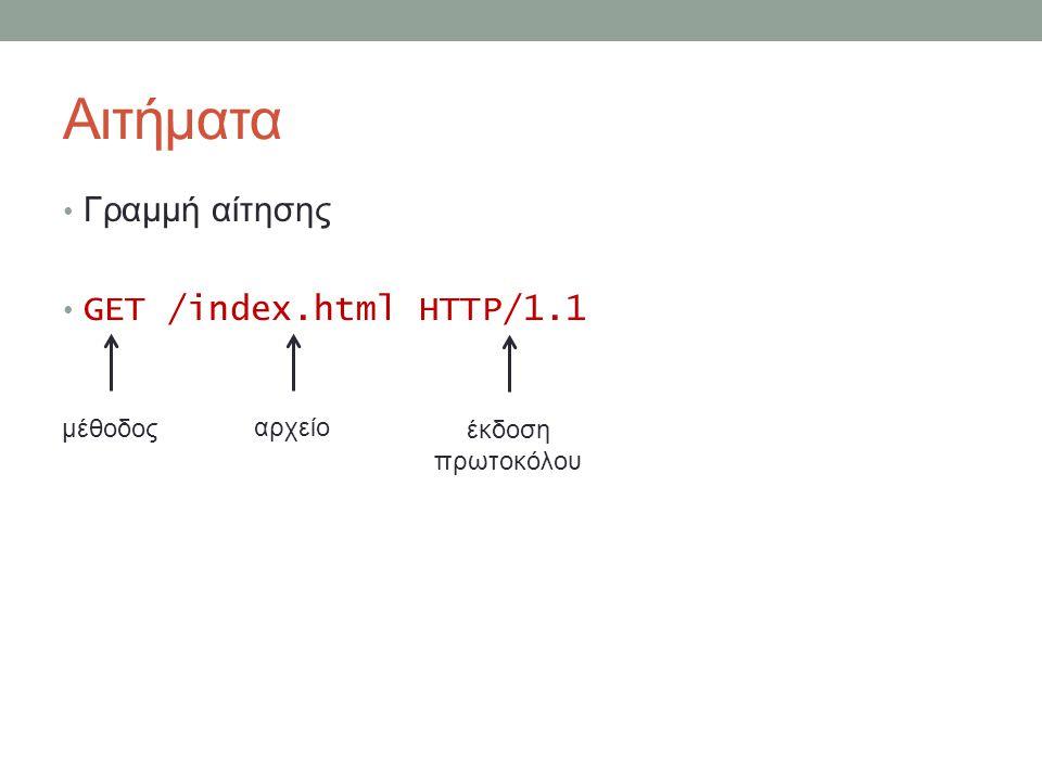 Αιτήματα Γραμμή αίτησης GET /index.html HTTP/1.1 μέθοδος αρχείο