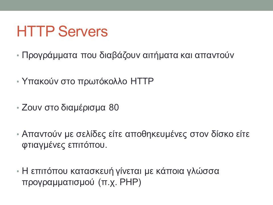 HTTP Servers Προγράμματα που διαβάζουν αιτήματα και απαντούν